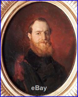 Auguste Hadamard Portrait Homme Ovale 1846 Academique Peinture Huile Francais