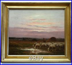 BARBIZON MOUTONS AU CRÉPUSCULE Toile XIXe Originale Signé CHAIGNEAU 1879 1938