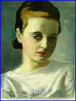 BERTHOMME SAINT-ANDRE Louis (1905-1977) Yvette Huile ancienne sur toile 1934