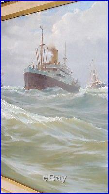 BONQUART Tableau HUILE sur TOILE 1909 Peintre MARINE Signe PAQUEBOT Voilier Art