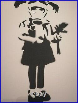 Banksy Dismaland Canvas original Spray Girl Gaz Mask