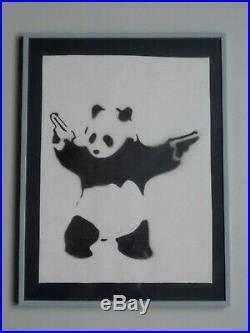 Banksy Panda with Guns , Peinture au Pochoir sur Toile, Dismaland Souvenir