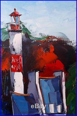 Beau Format70x50cm Bretagne DOUCHEZ Tableau Peinture huile sur toile au couteau