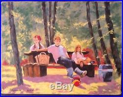 Beau Tableau Figuration Narrative Un Jour d'été en Famille Huile sur toile signé