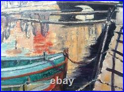 Beau Tableau Marine Barques sur le Canal Saint Sebastien à Martigues Huile signé