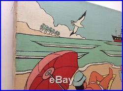Beau Tableau POP ART Vacances sur la Plage Acrylique sur Toile signée c1970