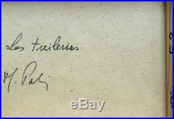 Beau tableau Les Tuileries signé M. Pabois (1939) artiste coté. Superbe cadre