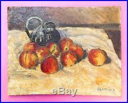 Beau tableau ancien, peinture à l'huile sur toile, signée Frachier. Epoque fin X