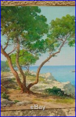 Beau tableau provençal signé F. Desaire cap d'Antibes
