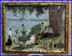 Bel Impressionniste 1920. Un Dejeuner En Famille Ou Dimanche Au Bord De L'eau