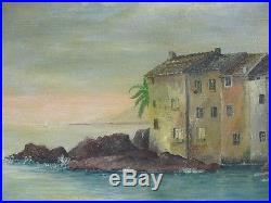 Belle Huile sur Toile de PERRON Erbalunga en Corse / 1948