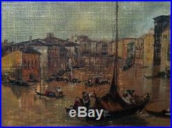 Belle Marine d'après CANALETTO Grand Canal Venise Huile Toile signée