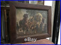 Belle huile sur toile Paysan Breton et ses chevaux signée et datée à identifier