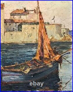 Belle marine, hst signée A Benoist, Voilier au port, cote d'azur
