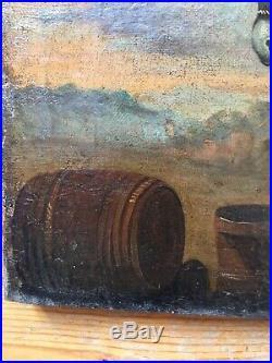 Belle peinture huile toile Ecole Hollandaise laitière XVIIIe 18TH Scène paysanne