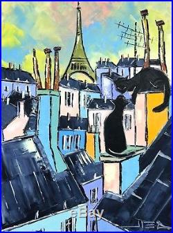 Black Chats Noirs Toits Paris Tour Eiffel Tableau Peinture Huile
