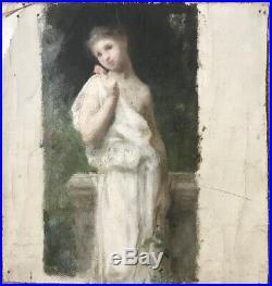 Bouguereau Impressionnisme Portrait Femme Venus Huile de Jules C Cavé 1859-1949