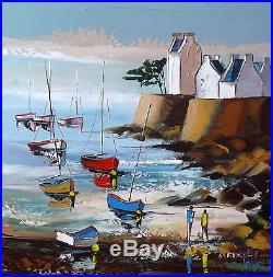 Bretagne JP DOUCHEZ Tableau Peinture huile sur toile au couteau Artmajeur Drouot