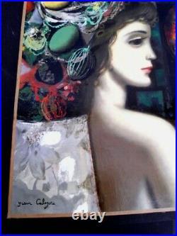 CALOGERO Jean (1922-2001 né en Sicile) JEUNE FEMME PENSIVE HUILE S/TOILE -1960