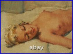 CESAR VILOT (XIX -XX) Jeune Femme Endormie HST 40 x 80 cm. Parfait Etat
