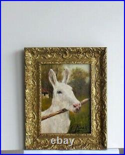 Cadre Ancien Bois Dore Peinture Huile Sur Toile Ane Blanc