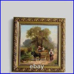 Cadre Ancien Bois Dore Peinture Huile Sur Toile Paysannes Et Ane