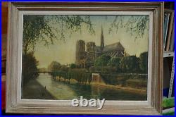 Cathédrale Notre Dame de Paris peinture huile sur toile 1954 signée avec cadre