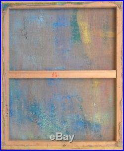 Catherine BELL, artiste contemporaine. Composition abstraite. HST. 65x54. Signé. 2007