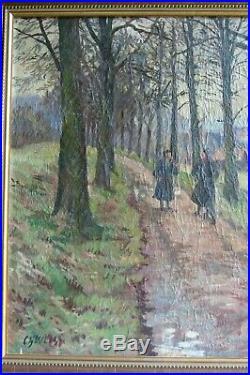 Ch WEISS tableau ancien huile/toile paysage animé peinture Alsacienne début XXe