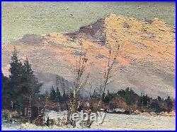 Charles Henri Contencin Huile Sur Toile Hiver En Valais Suisse Montagne Alpes