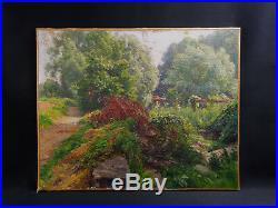 Charles Jean COUSSEDIERE (-1934) Paysage impressionniste Paris France flore