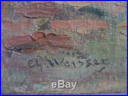 Charles WEISSER (1864-1940) Vue de Menton Grande HST impressionniste ca 1920