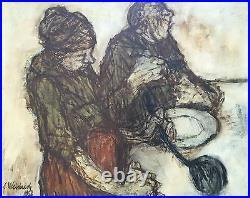 Claude WEISBUCH (1927-2014) Le repas HUILE SUR TOILE 65x81cm 25F 1958