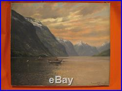 Conrad SELMYHR Paysage Marine Bateaux dans un fjord norvégien Tableau Peinture