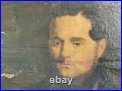 D LETELLIER Tableau HUILE sur TOILE 1845 Signe PORTRAIT HOMME Pere Peinture Art