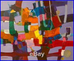 Denise Bourdouxhe 1925-1990 huile sur toile signée art abstrait v461