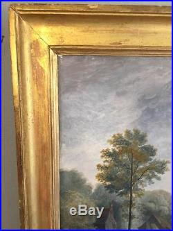 ECOLE FLAMANDE DU XIX eme SIECLE HULE SUR TOILE PAYSAGE ANIMÉ 72 cm x 53 cm