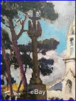 EMILE SIMON SORTIE D'UNE MESSE EN BRETAGNE HUILE SUR TOILE 46 X 55 cm