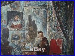 Ecole Francaise Tableau Vieil Antiquaire Juif Peinture Magasin Antiquites