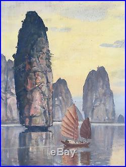 Ecole Vietnamienne 1 Indochine Nguyen Thu (1930) Huile Sur Toile