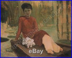 Ecole Vietnamienne 2 Indochine Nguyen Thu (1930) 2 Huile Sur Toile