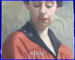 Ecole française Ancien portrait de jeune femme huile sur toile Paris Lyon France