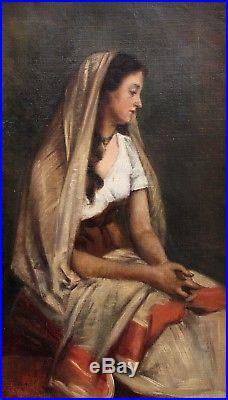 Ecole française, Femme, Tableau, Peinture, France, Barbizon, Italie, Portrait