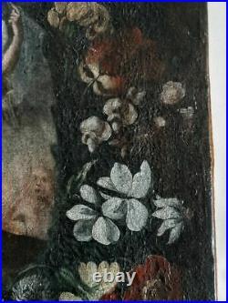 Ecole italienne du XVII / XVIIIè Peinture Religieuse Huile sur toile TBE