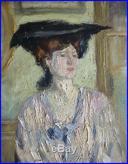 Edouard BENEDICTUS (1878-1930) Peinture impressionnisme vers 1900 femme painting