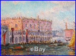 Edouard Dambourgez Tableau Venise Paysage Bacino DI San Marco Vue Canal Peintre