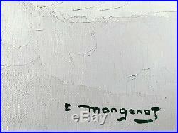 Emile MANGENOT 1910-1991 Tableau 20F Huile sur toile Signée Estuaire Gironde