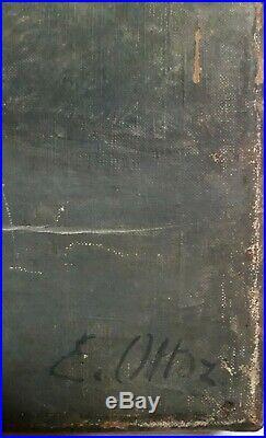 Emile-René OTTOZ (1863-1934) PETIT PAYSAGE BORD DE RIVIÈRE ANIMÉ VERS 1900