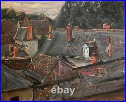 Emile Sabouraud Huile sur toile Les Toits (Touraine) v40