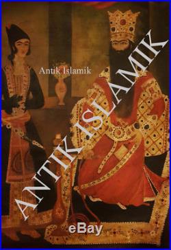 Empereur Perse Fath Ali Shah Kajar Antique Islamic Grande Peinture Qajar HST XXE
